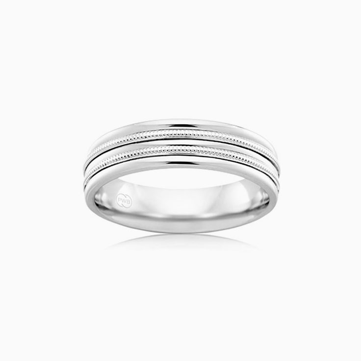Patterened Mens wedding ring J1773