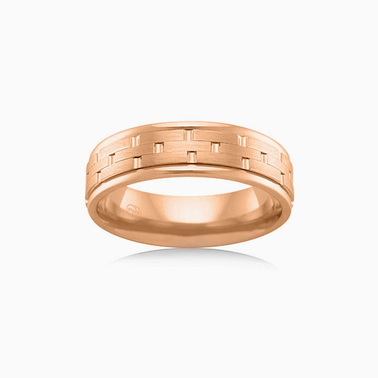 Brick Pattern Mens ring J2725