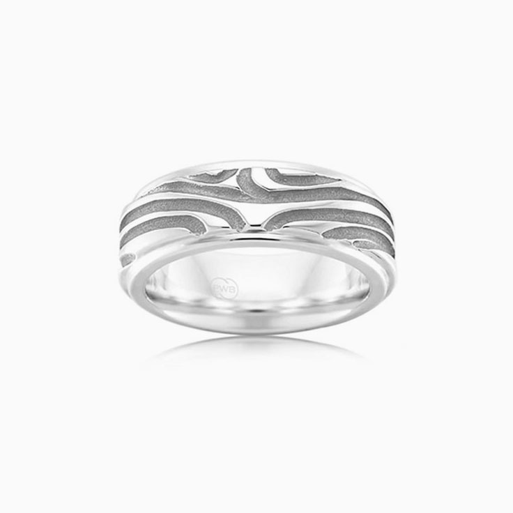 Carved Mens Wedding ring J4056