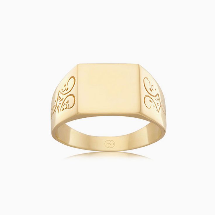 Carved mens signet ring J1069