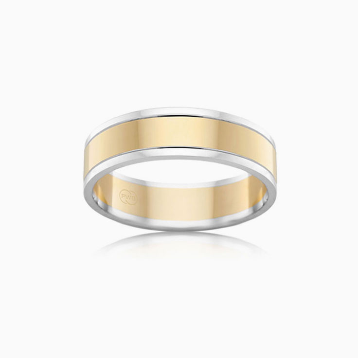 Two tone mens wedding band 2T1265