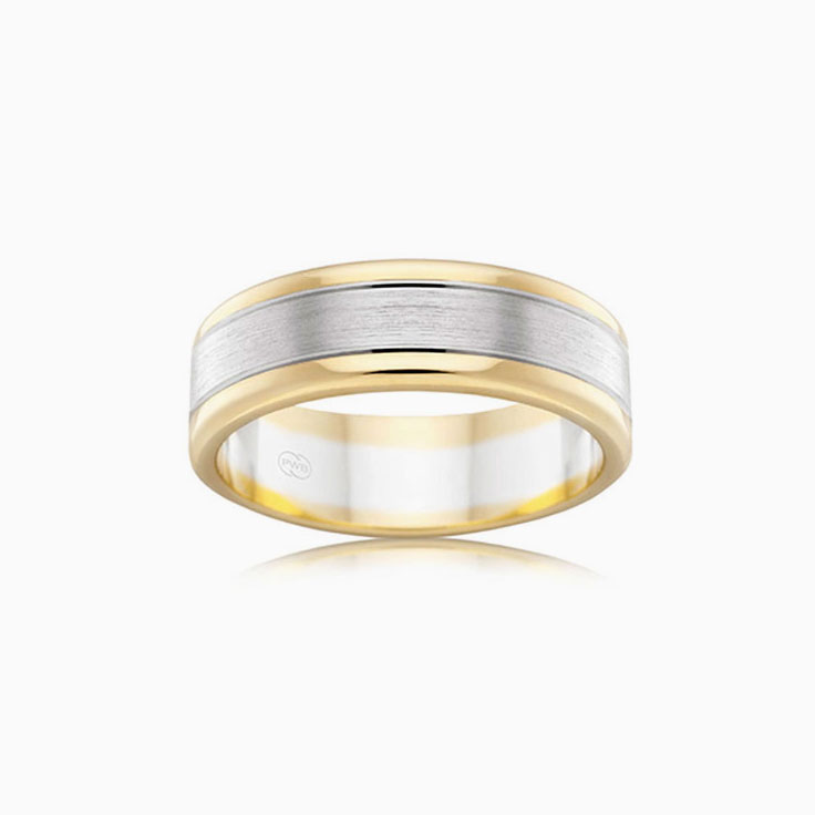 Two tone Mens Wedding Ring 2T2702