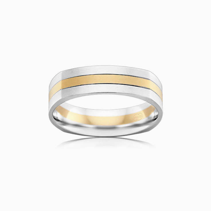 Two tone grooved mens ring 2T2978