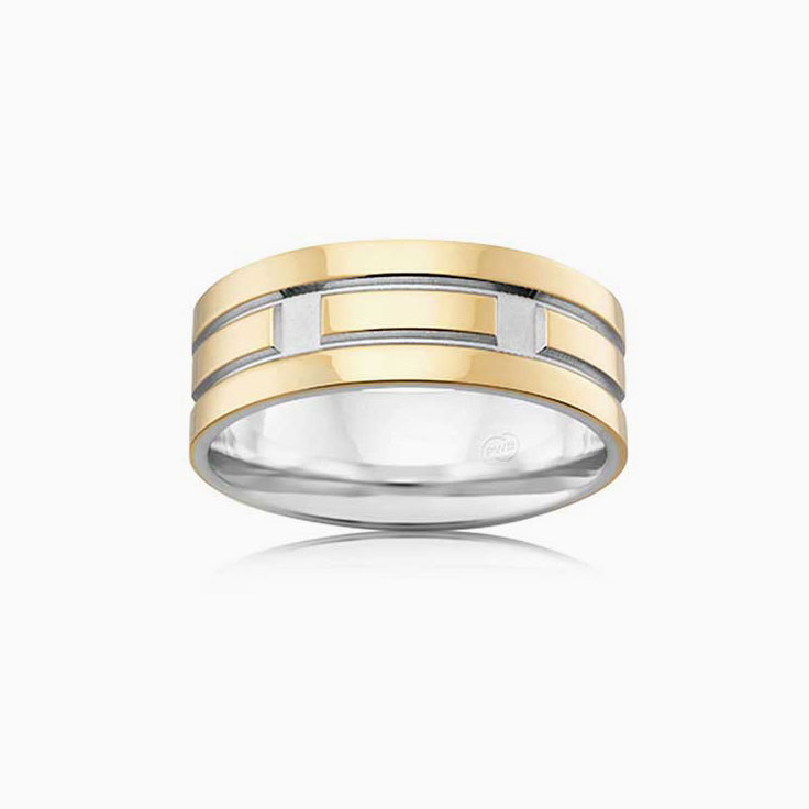Grooved Mens wedding ring 2T3732