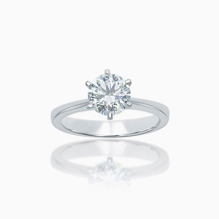 Six claw set Round brilliant cut solitaire engagement ring