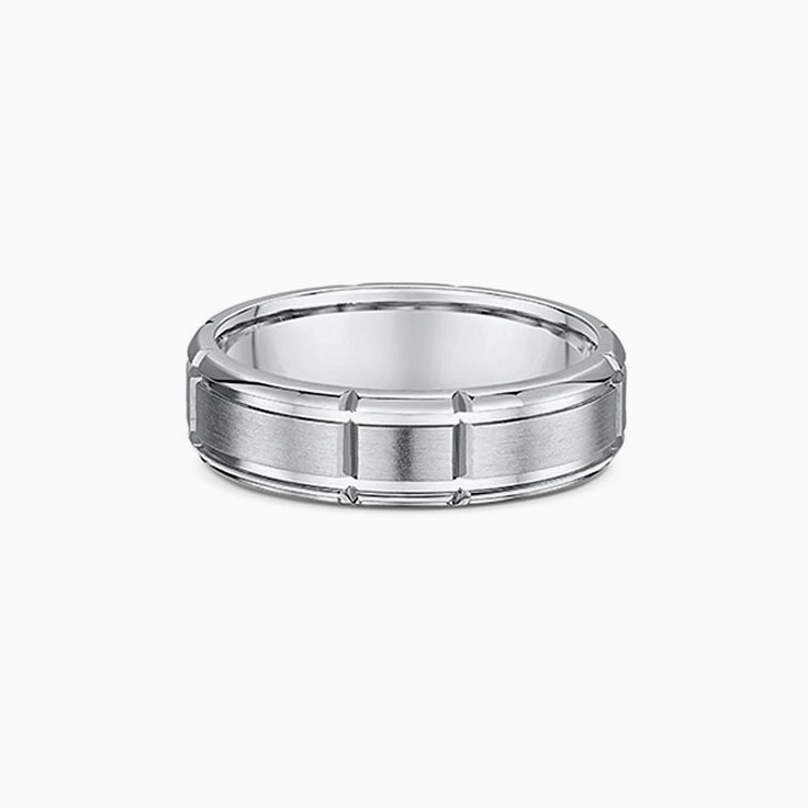 Grooved mens wedding ring 420A002