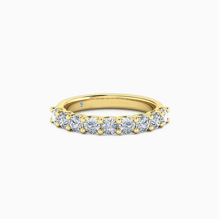 Round diamond u setting wedding ring