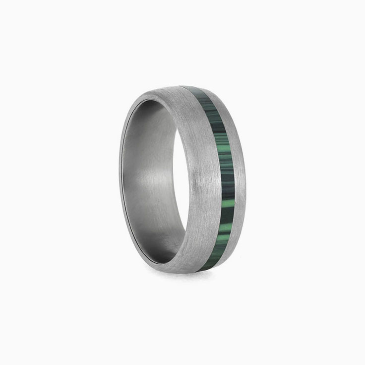 Malachite Ring with Brushed Titanium
