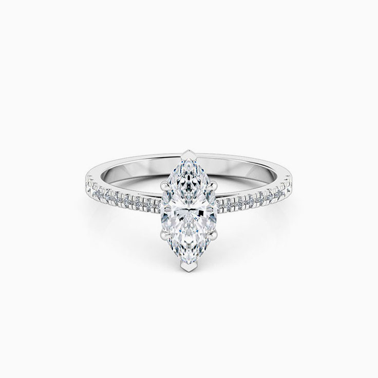 Marquise Cut Engagement Ring on a Diamond Band