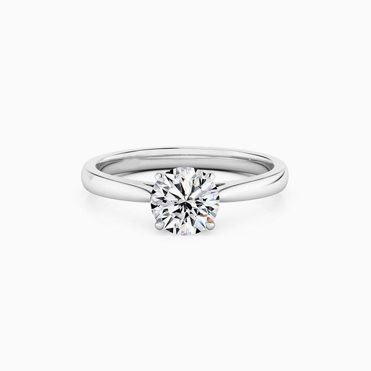 Round Brilliant Cut With A 4 claw Cathedral Setting Engagement Ring