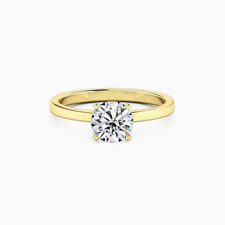 Round Brilliant Cut Engagement Ring With a flat plain band