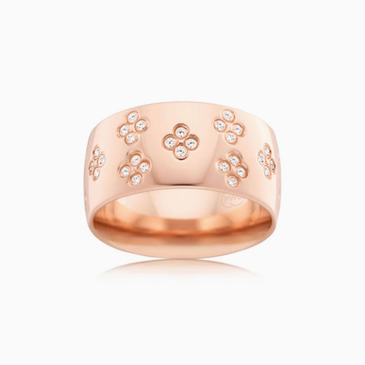 Floral pattern diamond ring B3423