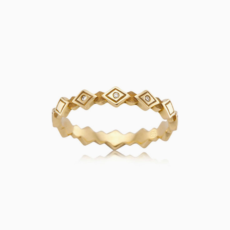 Patterened diamond stack ring J3787