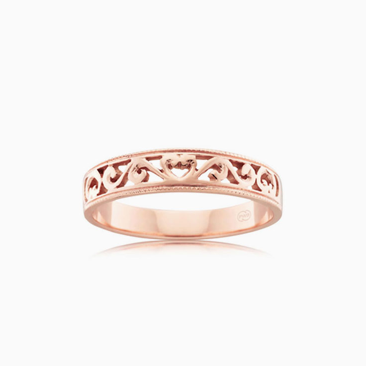Patterned gold ring J1101