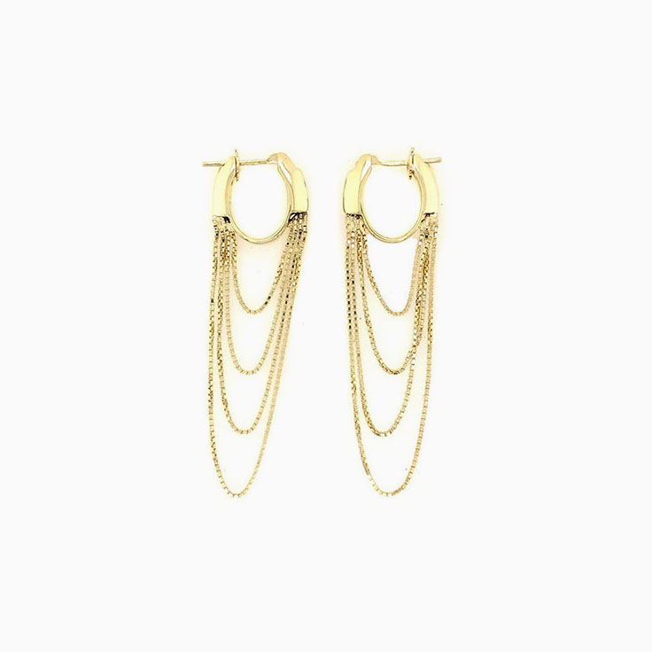 Chain hoop earrings C074