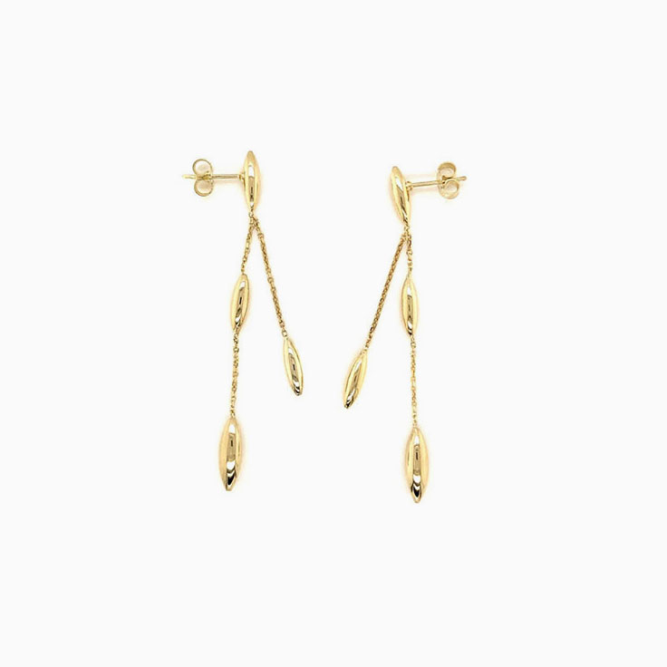 Double drop gold earrings C094A