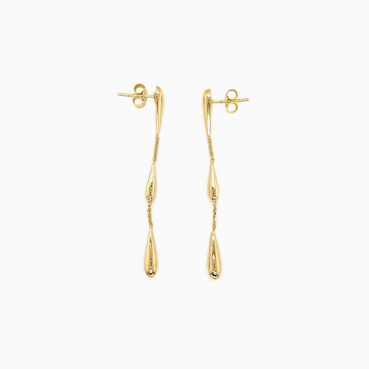 Teardrop gold earrings C169
