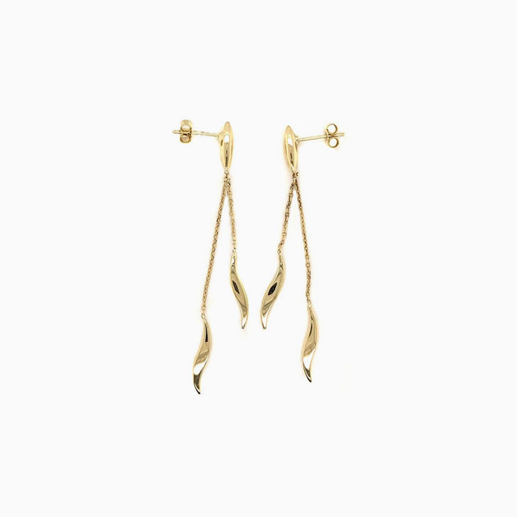 Double drop gold earrings C268