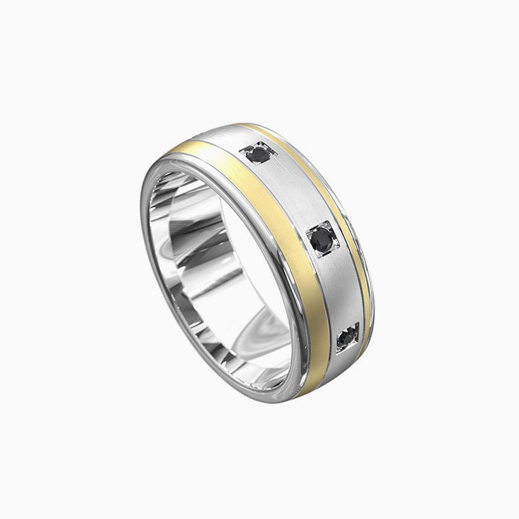 Black diamond two tone ring 7036
