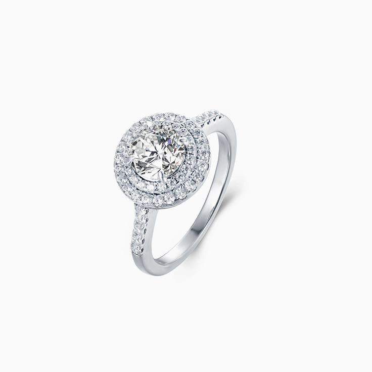 Round diamond with Double Halo Engagement Ring