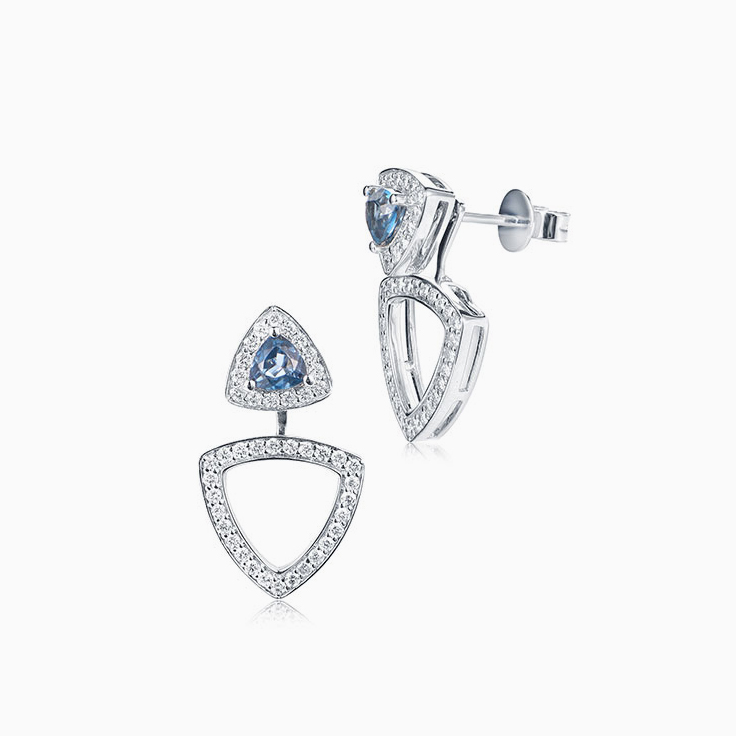 Trillion cut London Blue Topaz Earrings