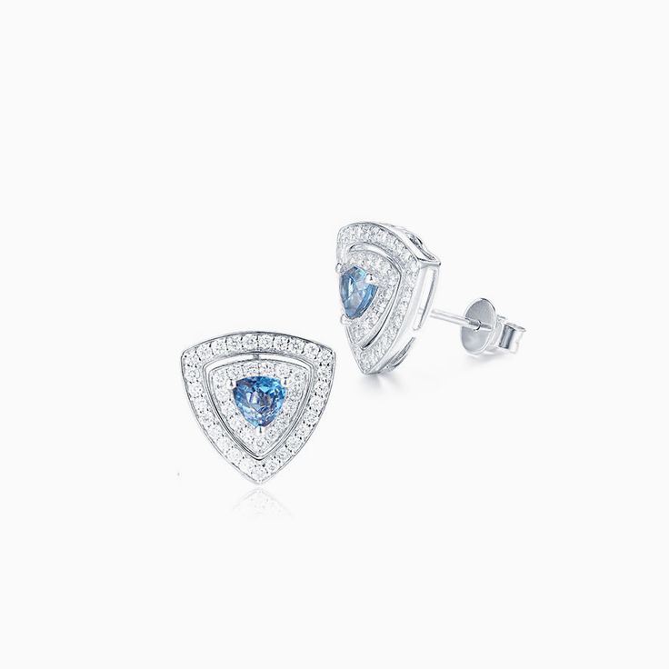 London Blue Topaz double halo studs
