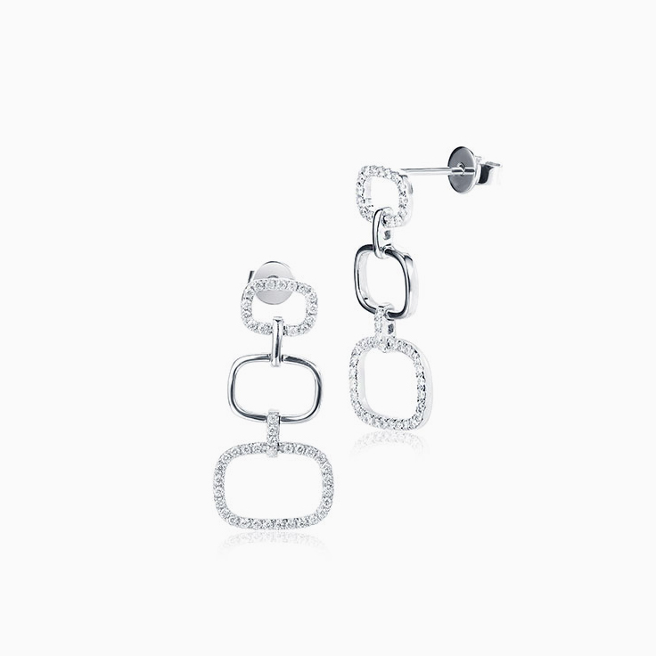 Rectangle Diamond Drop Earrings