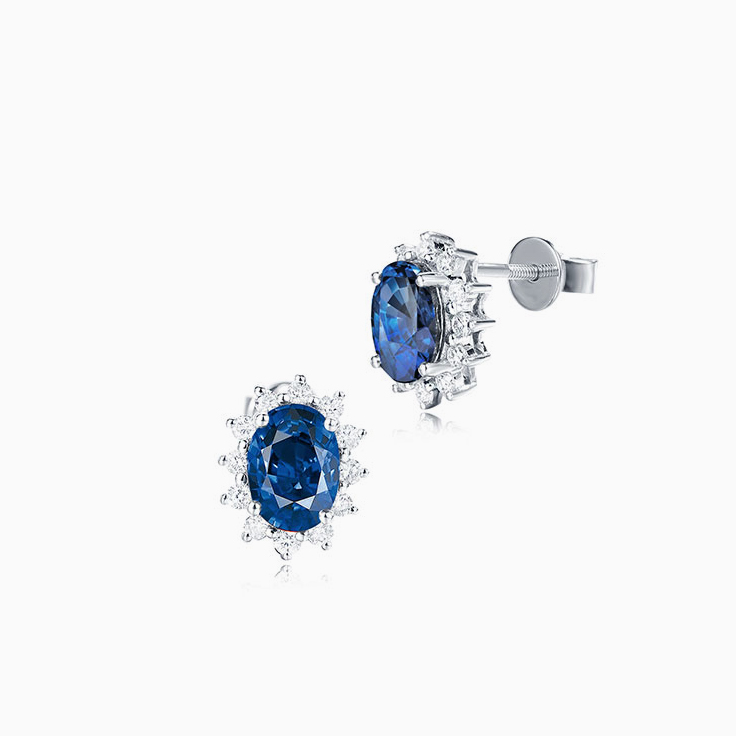 Blue Sapphire and Diamond Studs