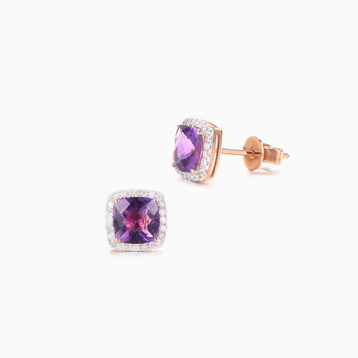 Amethyst and Diamond Studs