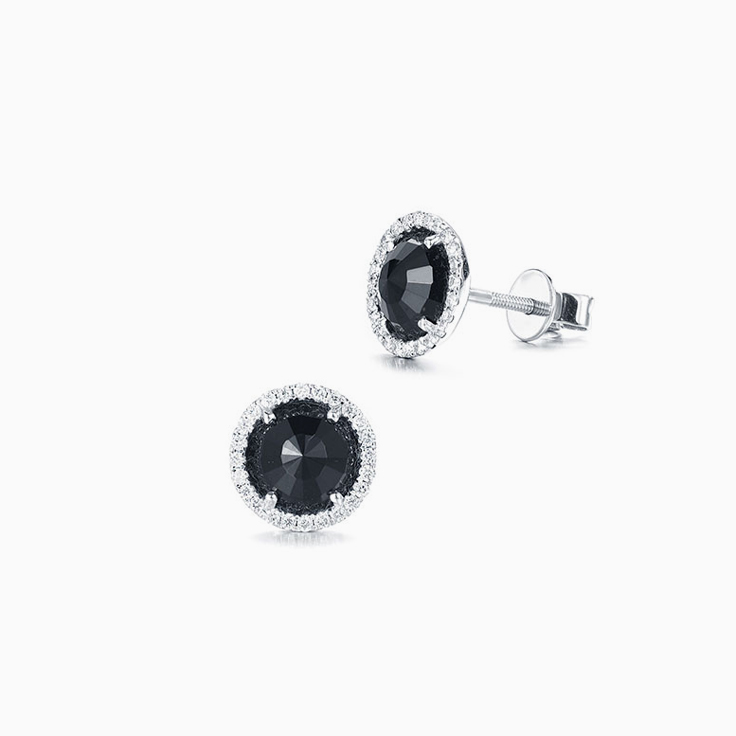 Onyx and Diamond Studs