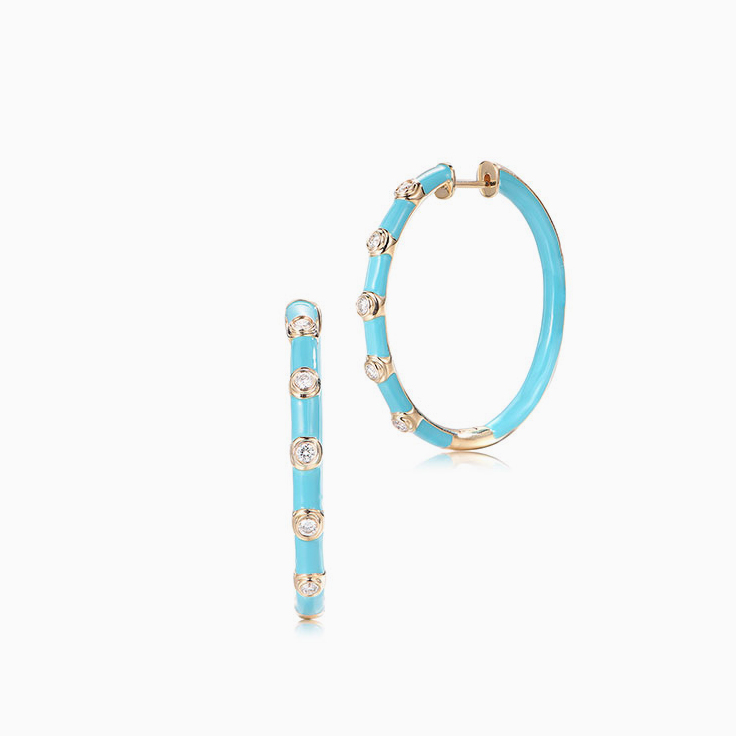 Blue Enamel Diamond Hoops