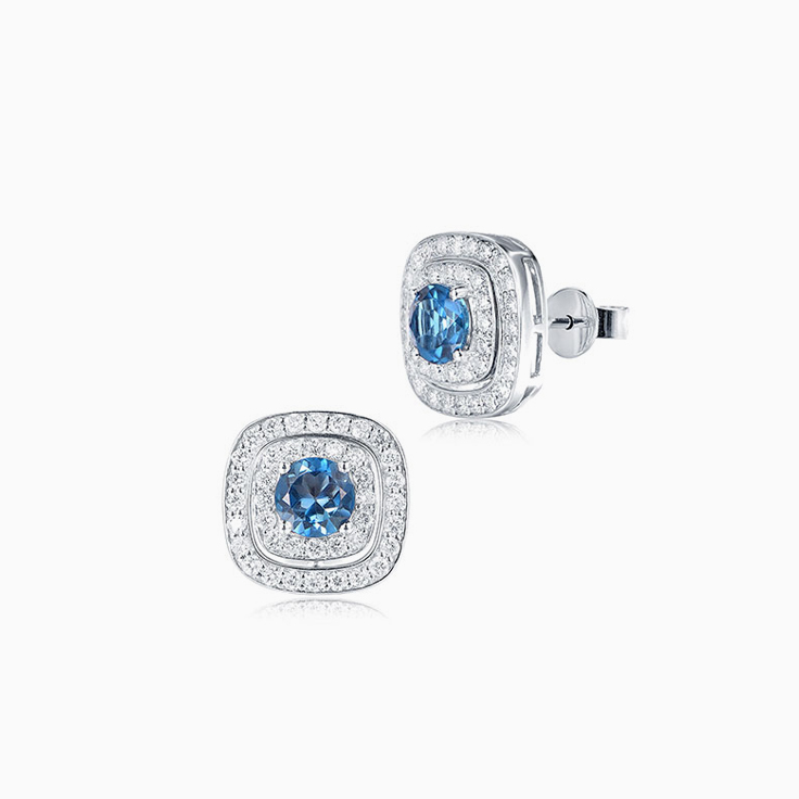 London Blue Topaz Cushion halo studs