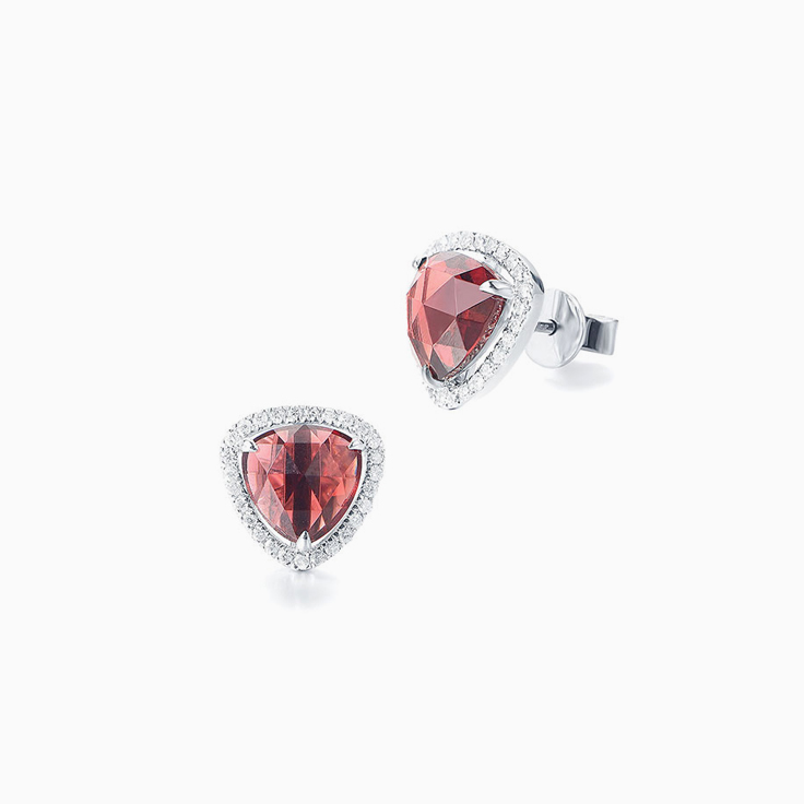 Garnet and Diamond Studs