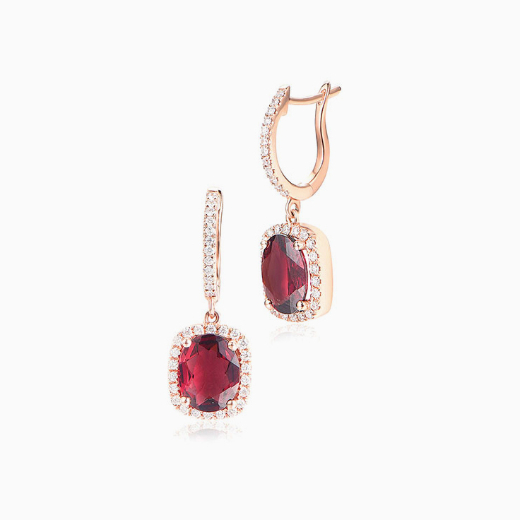 Rhodolite and Diamond Earrrings