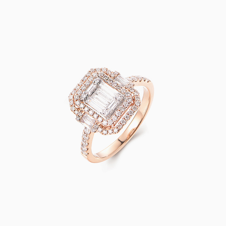 Rose Gold Cluster Diamond Ring