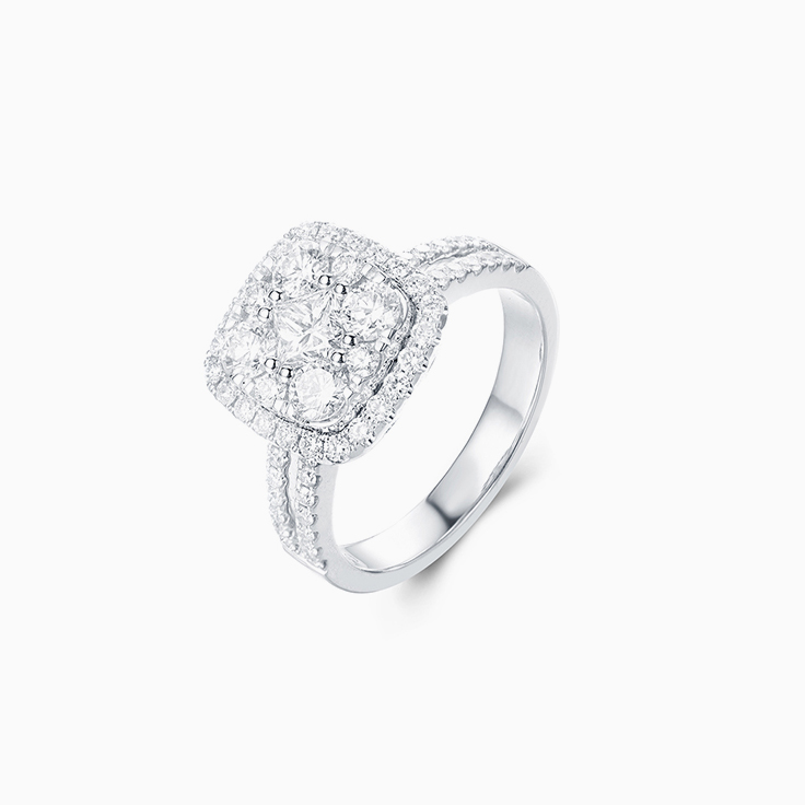 Cushion Cluster Diamond Ring