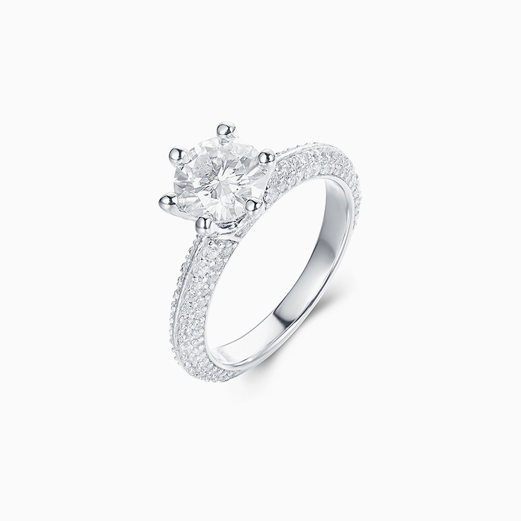 Round Brilliant cut on a Knife Edge Pave Set Engagement Ring