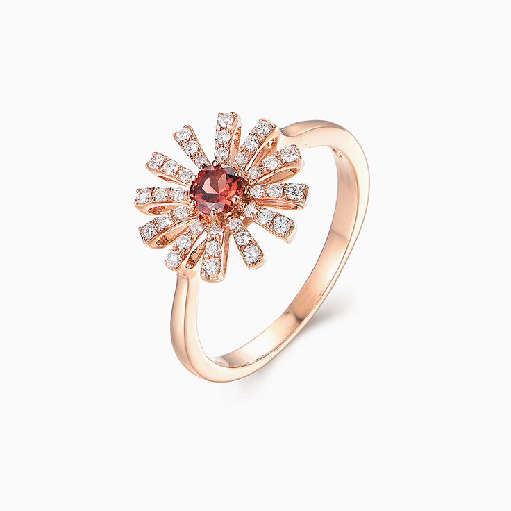 Garnet and Diamond Flower Ring