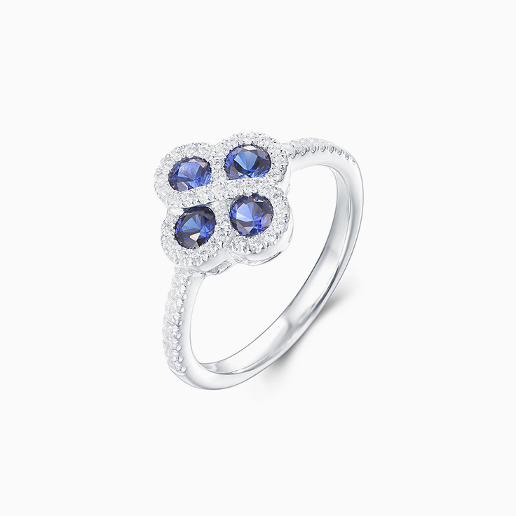 Blue Sapphire Floral Dress Ring