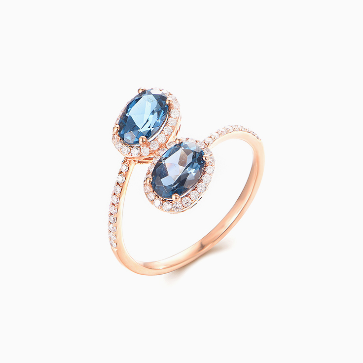 London Blue topaz Cuff ring