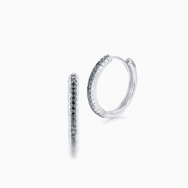 Black and White Diamond Hoops