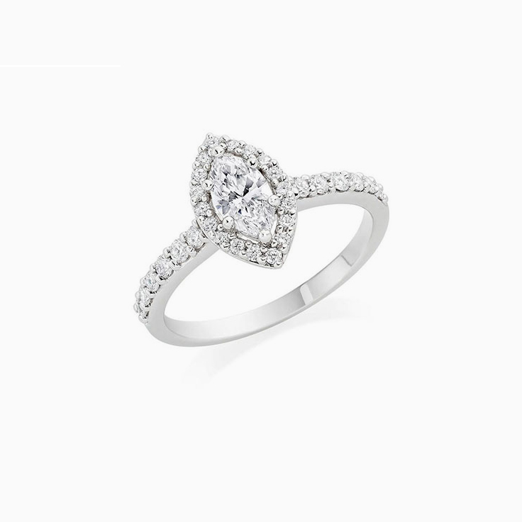 Marquise cut Engagement ring with a diamond halo
