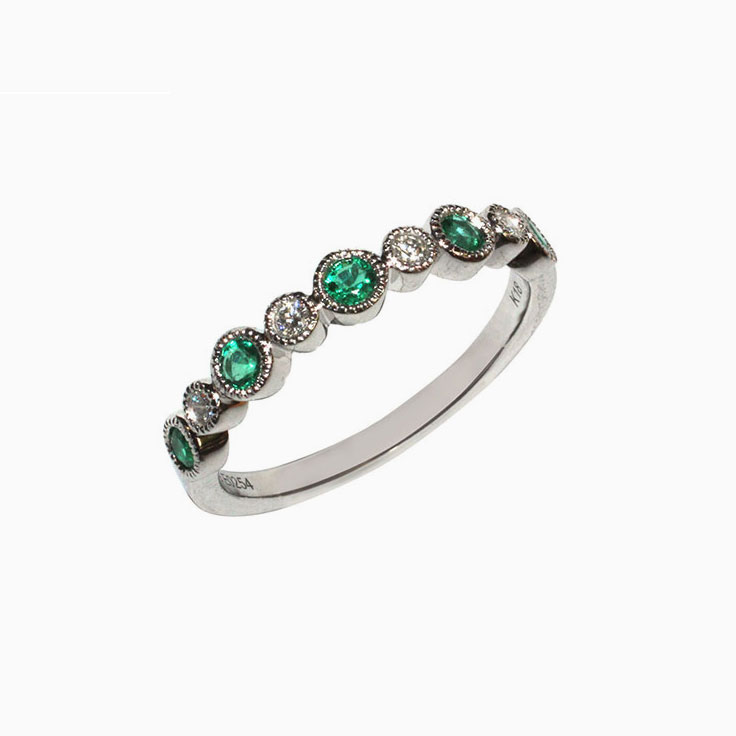 Green Emerald and Diamond bezel set