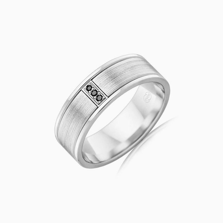 Black Diamond Mens wedding ring F3854