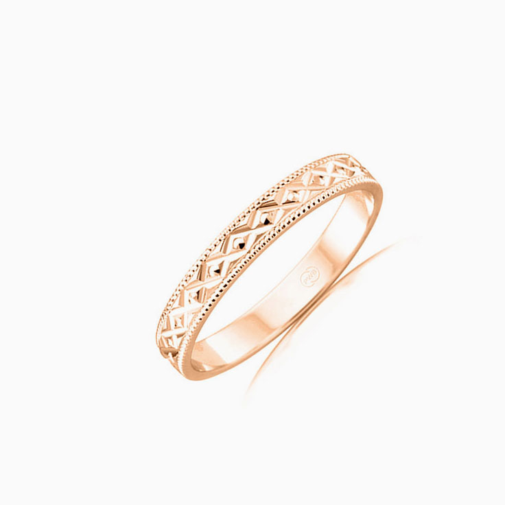 Carved ladies gold ring HR3554