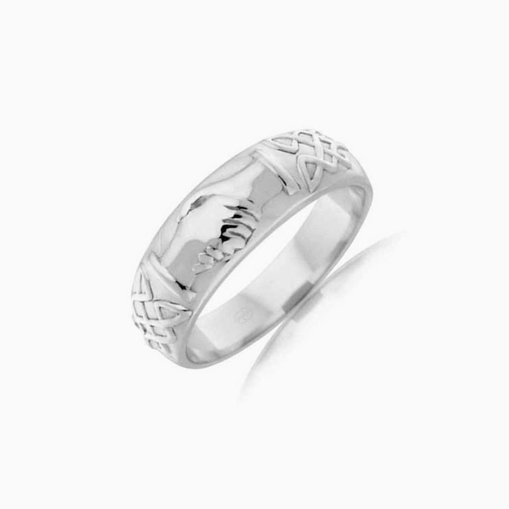 Carved mens wedding band J2083