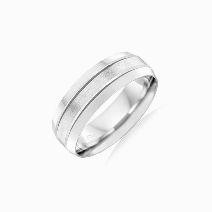 Dual Grooved Mens Wedding Band F2943