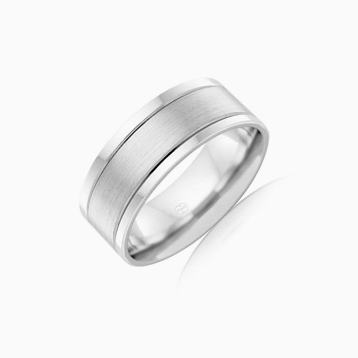 Double grooved mens wedding ring F3985