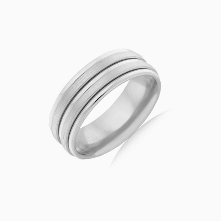 Double Grooved Mens ring J2700