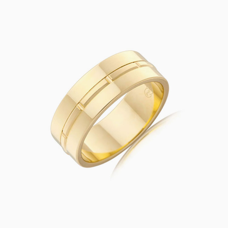 Centre Grooved Mens Ring J3449